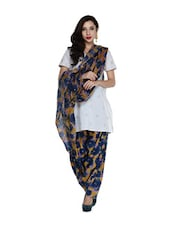 Yellow And Navy Blue Floral Salwar And Dupatta Set - STRI