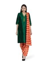 Printed Orange Salwar And Dupatta Set - STRI