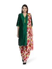 Printed White Salwar And Dupatta Set - STRI