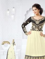 Off-White And Black Designer Anarkali Suit Set - Sanchey