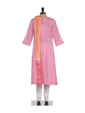 Baby Pink And White Elegant Churidar Suit - KILOL