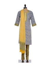Red And Yellow Floral Print Cotton Kurta Churidar Set - KILOL