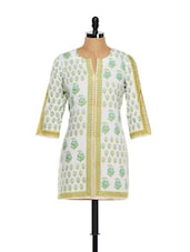 White And Lime Green Three Quarter Sleeved Kurti - KILOL