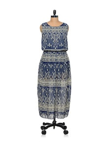 Long Printed Blue Dress - TREND SHOP