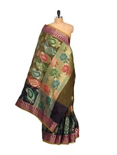 Mehendi Green Saree With Exquisite Pallu - Bunkar