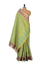 Leafy Green Cotton Silk Saree - Bunkar