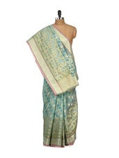 Sea Green Cotton Silk Saree - Bunkar