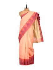 Chanderi Cotton Silk Peach Saree - Bunkar