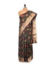 Black Evening Cotton Silk Banarasi Net Saree - Bunkar