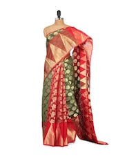 Red And Green Cotton Silk Saree - Bunkar
