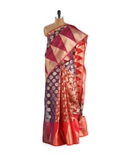 Red And Magenta Cotton Silk Saree - Bunkar