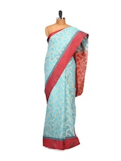Sky Blue And Red Cotton Silk Saree - Bunkar