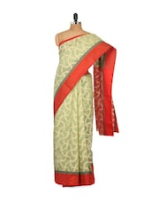 Green And Red Cotton Silk Saree - Bunkar