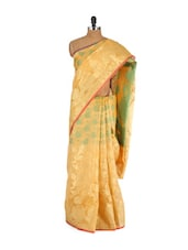 Mustard And Gold Faux Cotton Silk Saree - Bunkar