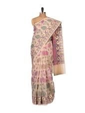 Pretty Printed Beige Cotton Silk Saree - Bunkar