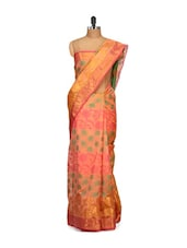 Floral Printed Orange Cotton Silk Saree - Bunkar