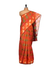 Orange And Gold Cotton Silk Saree - Bunkar