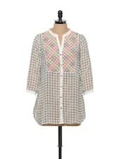 Chequered White Tunic - RENA LOVE
