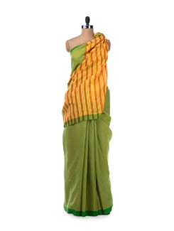 Colour Block Handloom Cotton Saree In Lime Green - Desiweaves