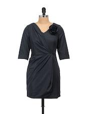 Black Dress With Rosette - Salt