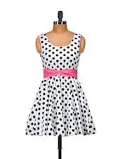 White Polka Dotted Dress - Salt