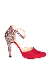 Red Pointed Heels With Glittery Heels - Soft & Sleek
