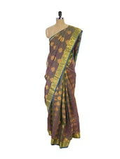 Brown Blue Kanchipuram Vasundhra Pattu Silk Saree - Pothys
