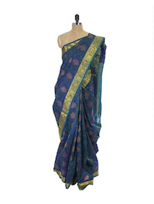 Aqua Blue Kanchipuram Vasundhra Pattu Silk Saree - Pothys