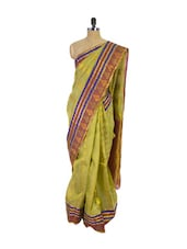 Green & Brown Kanchipuram Pattu Silk Saree With Zari Work - Pothys