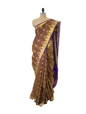 Brown Kanchipuram Vasundhra Pattu Silk Saree With Zari Work Purple Border - Pothys