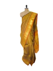 Gold Kanchipuram Parampara Pattu Silk Saree With Zari & Jacquard Work - Pothys