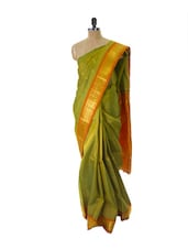 Green Kanchipuram Handloom Silk Saree With Zari & Jacquard Work Orange Border - Pothys