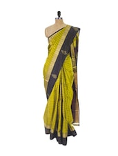 Green Kanchipuram Uppada Silk Saree With Zari & Work Black Border - Pothys