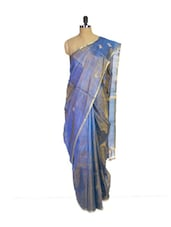 Blue Kanchipuram Uppada Pattu Silk Saree With Plain Weave - Pothys