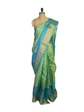 Blue & Green Kanchipuram Mayuri Men Pattu Silk Saree - Pothys