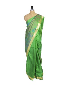 Green Kanchipuram Mayuri Men Pattu Silk Saree With Zari Border - Pothys