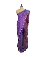Purple Kanchipuram Arani Silk Saree With Thin Gold Zari Border - Pothys