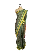 Green Kanchipuram Arani Silk Saree With Gold & Maroon Colored Zari Border - Pothys