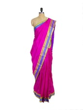 Pink Kanchipuram Arani Silk Saree With Purple Zari Border - Pothys