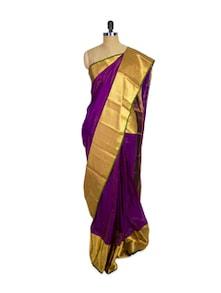 Purple Kanchipuram Arani Silk Saree With Gold Zari Border - Pothys