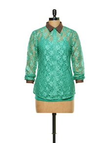 Sea Green Lace Shirt - CHERYMOYA