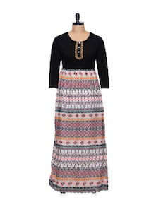 Long Tribal Print Dress - CHERYMOYA