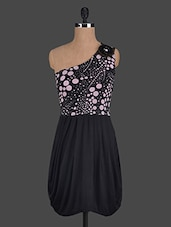 Polka Dot Printed One Shoulder Dress - Glam And Luxe