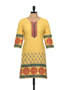 Yellow Cotton Kurti Block Print - RIYA