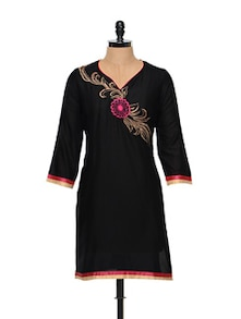 Floral Embroidered Black Cotton Kurti - RIYA