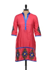 Floral Threadwork Fuchsia Cotton Kurti - RIYA