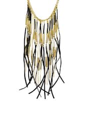 Black And Gold Tassel And Suede Necklace - Ipsa-Anu
