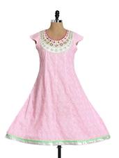 Pink Short Sleeve Flared Kurta - Aaboli