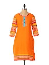 Orange Three Fourth Sleeve Kurta - Aaboli