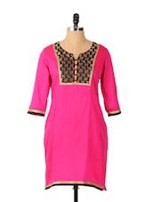 Pink Polyester Three Fourth Sleeve Kurta - Aaboli
